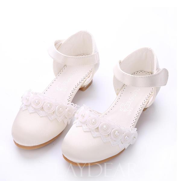 769f229522f Χαμηλή τακούνια Κλειστά παπούτσια Γοβάκια Κορίτσι λουλουδιών Με Velcro  Λουλούδι