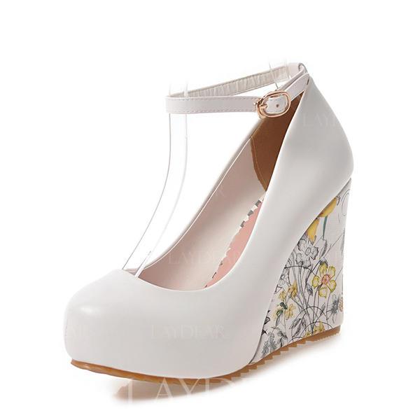 a6c1ad3cbd4 De mujer PU Tipo de tacón Salón Plataforma Cerrados Cuñas con Hebilla  zapatos