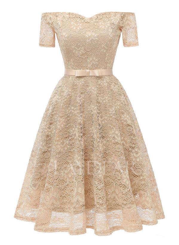 ca62895e8e81 Δαντέλα Στερεός Εκτός ώμου Μήκος γόνατος A-line φόρεμα (1011246356 ...
