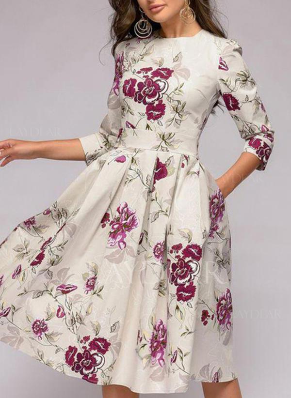 43a0b935e24 Imprimée Fleurie Manches 3 4 Trapèze Longueur Genou Vintage Décontractée Élégante  Robes