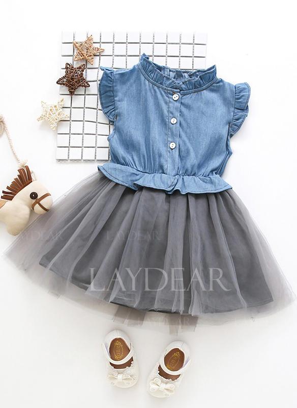Κορίτσια Stand-up κολάρο Κουμπιά Ανέμελος Χαριτωμένος Φόρεμα ... 9ad81b83ab0
