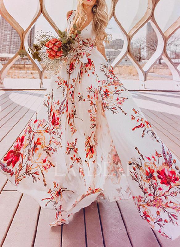 Nadrukowana/Kwiatowy Bez rękawów W kształcie litery A Maxi Przyjęcie Sukienki