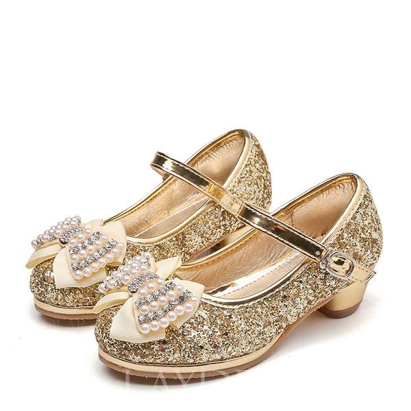 28b8b22cbd8 Κλειστά παπούτσια Γοβάκια Κορίτσι λουλουδιών Με Bowknot Τεχνητό διαμάντι