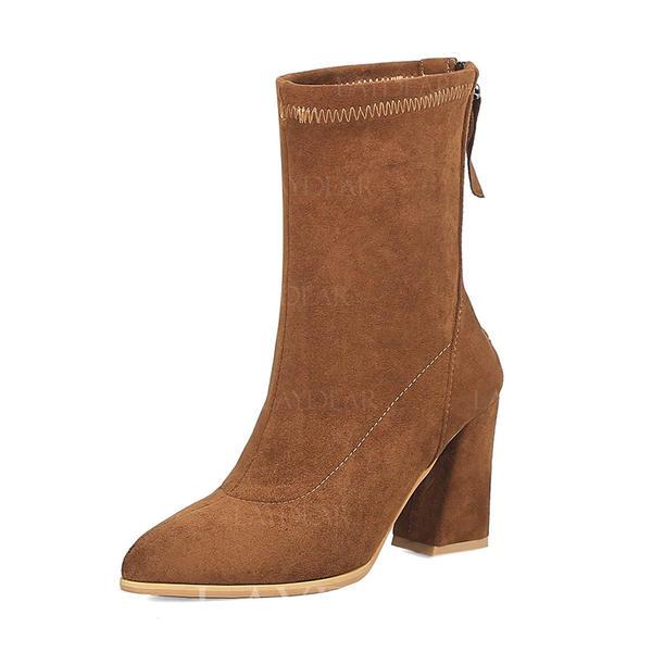 6680b2f1 Kvinner Semsket Stor Hæl Pumps Støvler Mid Leggen Støvler med Glidelås sko