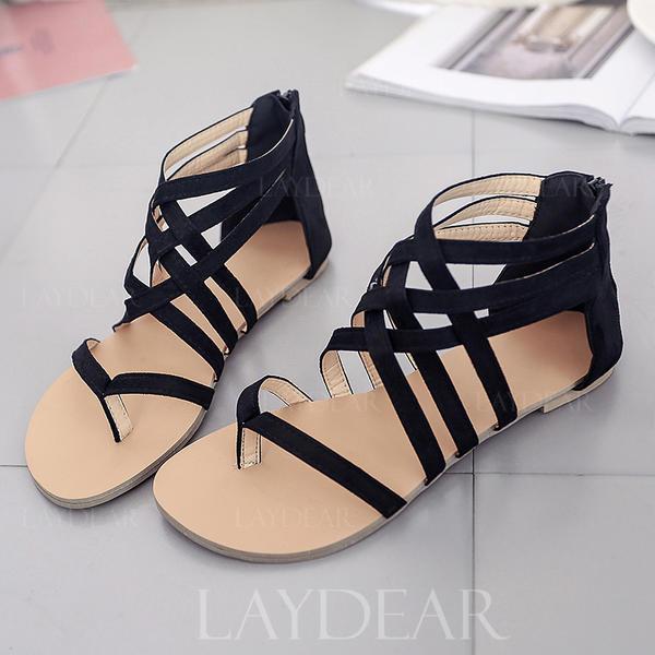 Frauen Veloursleder Flascher Absatz Sandalen Flache Schuhe Peep Toe mit Reißverschluss Schuhe