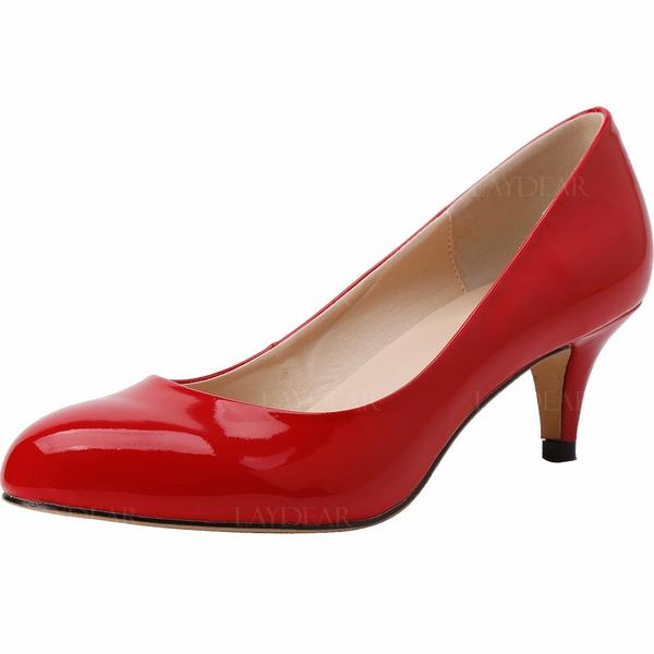 Frauen Lackleder Kegel Absatz Absatzschuhe Geschlossene Zehe Schuhe