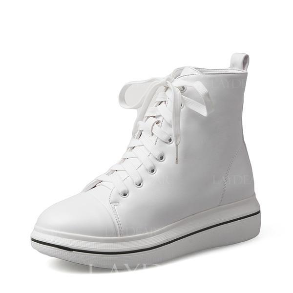 Frauen PU Lässige Kleidung Outdoor mit Zuschnüren Schuhe