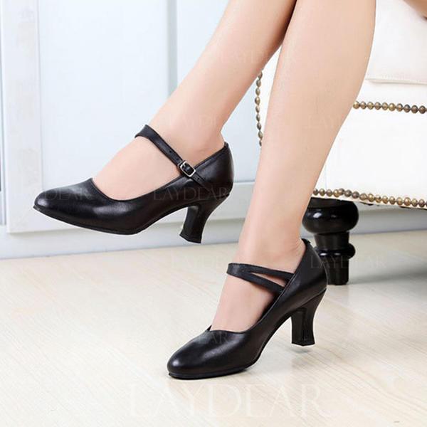 Frauen Charakter Schuhe Heels Echtleder mit Schnalle Latin