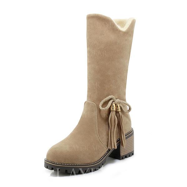 75492898 Kvinner Semsket Stor Hæl Støvler Mid Leggen Støvler Snø Støvler med Bowknot  sko