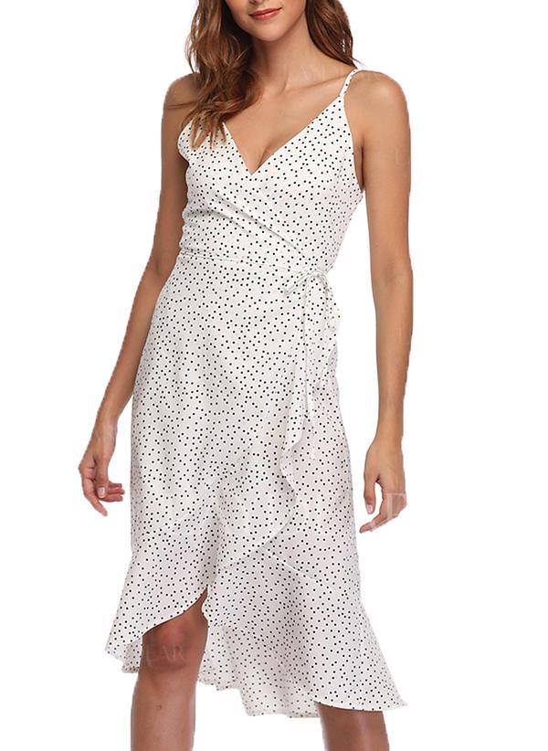 320d67643a Groszki Bez rękawów W kształcie litery A Asymetryczna Casual Wakacyjna  Sukienki
