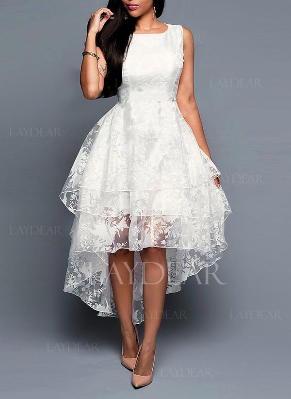 1e7e838d00 Koronka Jednolita Bez rękawów W kształcie litery A Asymetryczna Wintage  Przyjęcie Elegancki Sukienki