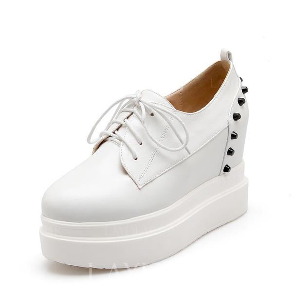 Frauen PU Keil Absatz Flache Schuhe Geschlossene Zehe Keile mit Niete Zuschnüren Schuhe