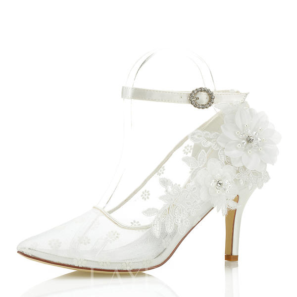 a251a79e90a Γυναίκες Δαντέλα Ψηλό τακούνι Κλειστά παπούτσια Με Λουλούδι Εφαρμογή ...