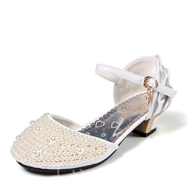3833acb5785 Κλειστά παπούτσια Γοβάκια Κορίτσι λουλουδιών Με Πόρπη Απομιμήσεις Pearl  Βάφλες