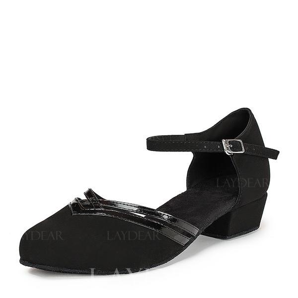 Frauen Ballsaal Flache Schuhe Lackleder Veloursleder mit Knöchelriemen Modern Style