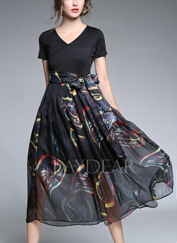 c837df831e Nadrukowana Krótkie rękawy Koktajlowa Midi Sukienki (199131269 ...