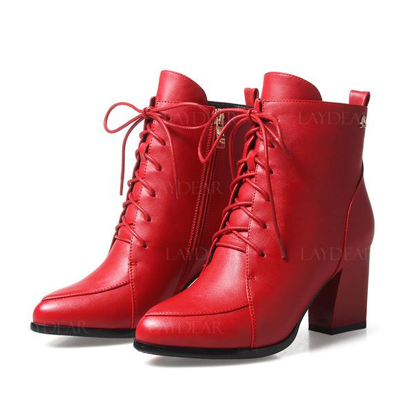 Frauen Kunstleder Stämmiger Absatz Absatzschuhe Stiefelette mit Reißverschluss Zuschnüren Schuhe