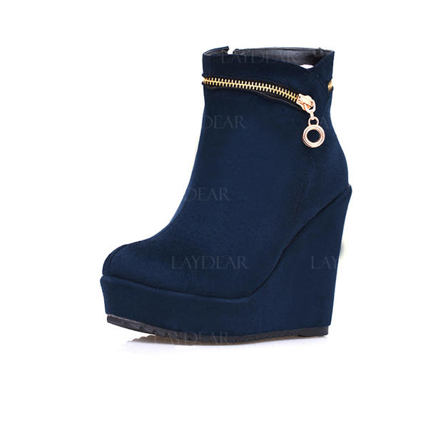 Frauen Veloursleder Keil Absatz Plateauschuh Keile Stiefelette mit Reißverschluss Schuhe