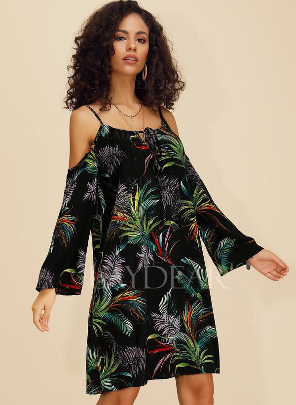 Nadrukowana Długie rękawy Koktajlowa Długośc do kolan Casual Sukienki