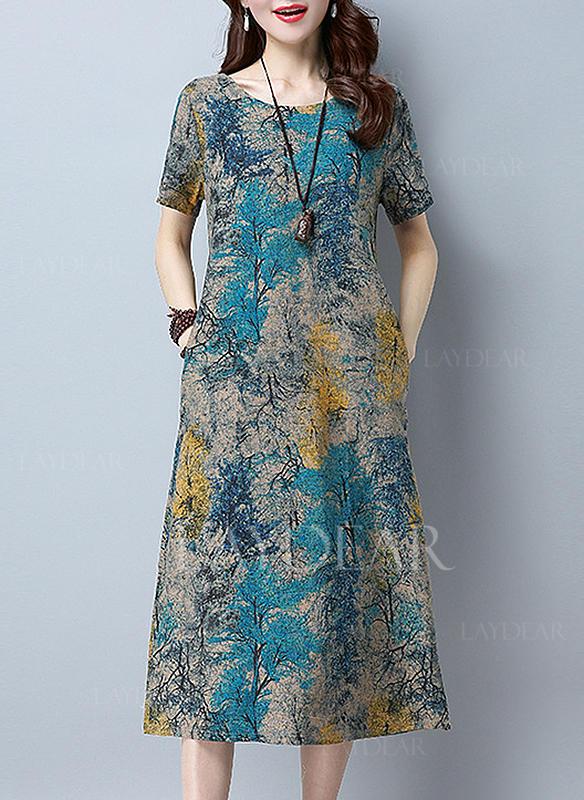 05ff82c0a9 Nadrukowana Krótkie rękawy Koktajlowa Midi Casual Sukienki ...