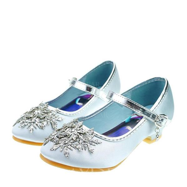a5029b3371f Στρογγυλά παπούτσια Γοβάκια Κορίτσι λουλουδιών Με Πόρπη Τεχνητό διαμάντι