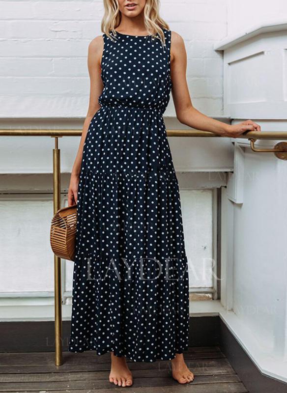 c2f2df42c42c Πουά Στρογγυλός λαιμός Μάξι φόρεμα A-line φόρεμα (1011245222 ...
