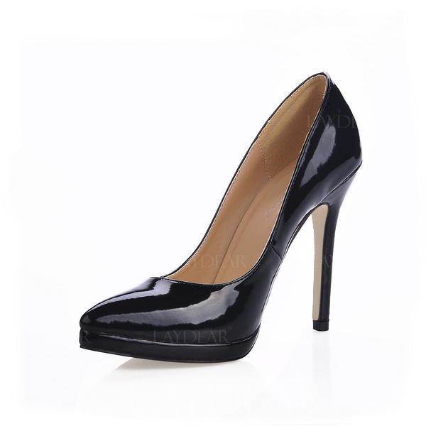 Frauen Lackleder Stöckel Absatz Absatzschuhe Plateauschuh Geschlossene Zehe Schuhe