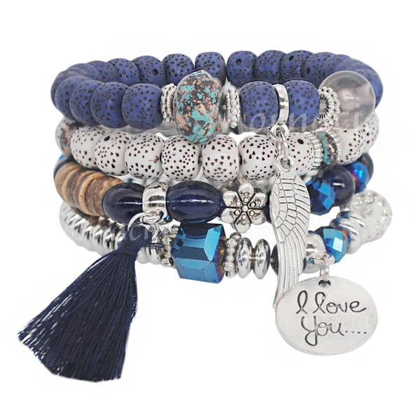 Beau Alliage Argent plaqué Acrylique Perles en bois Dames Bracelets de mode