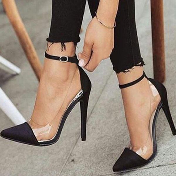 Frauen Satin Stöckel Absatz Absatzschuhe mit Schnalle Schuhe