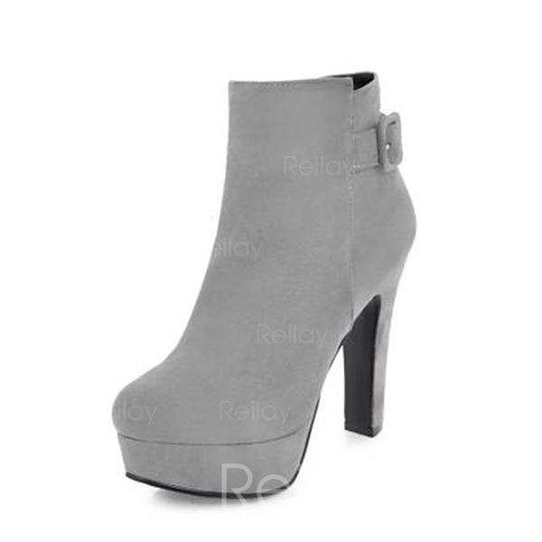 b76e554f1c59f Dla kobiet Zamsz Obcas Slupek Czólenka Kozaki Botki Z Zamek błyskawiczny  obuwie