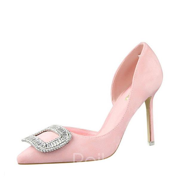 10f7cee8c5980c Femmes Suède Talon stiletto Escarpins Bout fermé avec Strass chaussures