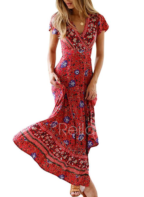 Print Short Sleeves A-line Maxi Casual/Boho/Vacation Dresses