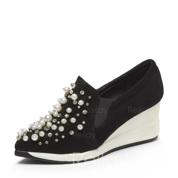 8a5e2a91625 [US$ 80.99] Women's Real Leather Wedge Heel Closed Toe Wedges With  Imitation Pearl shoes - reilay