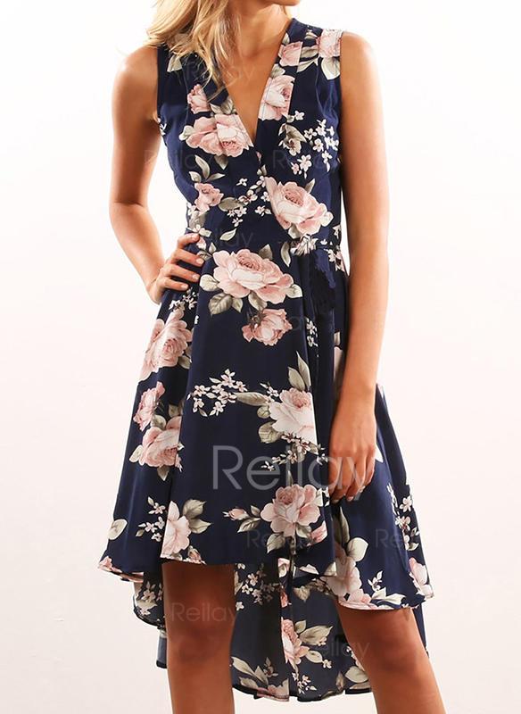 7b8b28d28e Nadrukowana Kwiatowy Bez rękawów W kształcie litery A Asymetryczna  Przyjęcie Sukienki