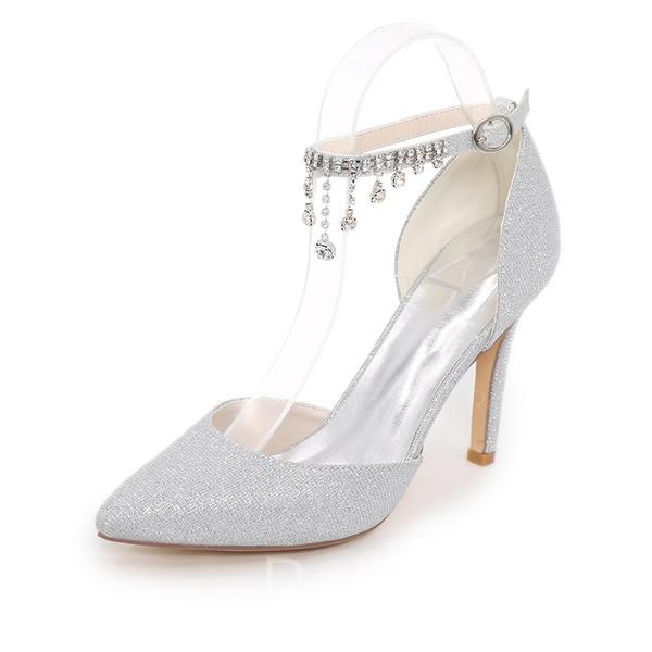 4b83b82e78d7a3 Vrouwen Sprankelende Glitter Stiletto Heel Pumps met Keten ...