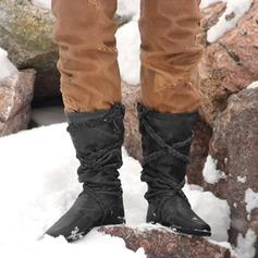 Women's Leatherette Flat Heel Mid-Calf Boots Snow Boots With Lace-up shoes