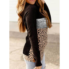 Цветной блок леопард блестки Длинные рукова Толстовка с капюшоном