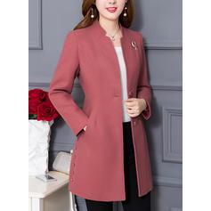 Vlna Dlouhé rukávy Jednobarevný Vlněné kabáty