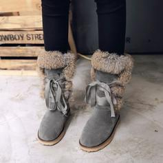 Women's PU Low Heel Mid-Calf Boots Snow Boots With Ribbon Tie shoes