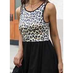 Druck/Leopard Ärmellos A-Linien-Kleid Knielang Lässige Kleidung/Urlaub Skater Kleider
