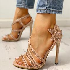 Dla kobiet PU Obcas Stiletto Sandały Otwarty Nosek Buta Z Stras/ Krysztal Górski obuwie