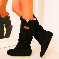 Femmes PU Talon bas Bottes mi-mollets Bottes neige avec Couleur unie chaussures