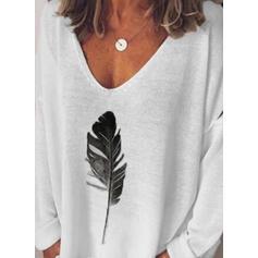 Impresión Cuello en V camiseta