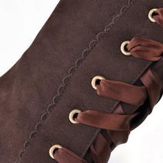 Donna Camoscio Tacco spesso Stivali al ginocchio con Cravatta a nastro Increspato scarpe