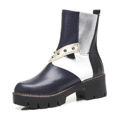 Femmes Similicuir Talon bottier Bottes avec Rivet chaussures