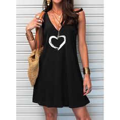 Print/Heart Sleeveless Shift Above Knee Casual/Vacation Slip Dresses