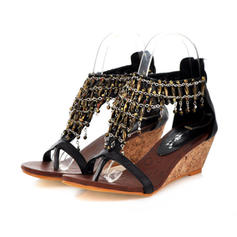 Women's Leatherette Wedge Heel Sandals Wedges Peep Toe With Chain shoes