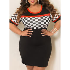Geometric Print 1/2 Sleeves Bodycon Above Knee Casual/Plus Size Dresses