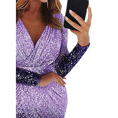 Sequins Long Sleeves Sheath Midi Party Dresses
