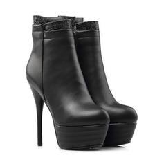 Femmes PU Talon stiletto Escarpins Plateforme Bottes Bottines avec Zip chaussures